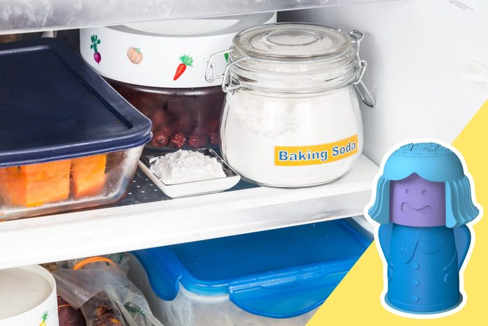 Baking Soda in the fridge with inset of baking soda dispenser