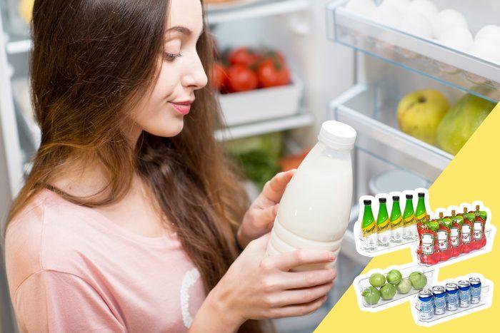 woman checking milk on fridge door with inset of fridge organizers