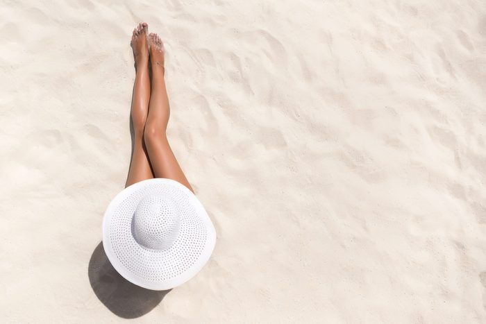 Summer,holiday,fashion,concept, ,tanning,woman,wearing,sun,hat