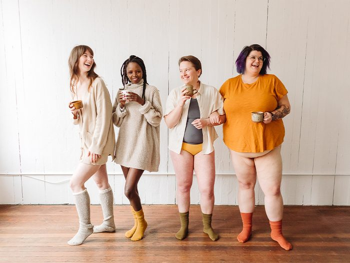 eco-friendly menstrual products | image of 4 people wearing joni pads