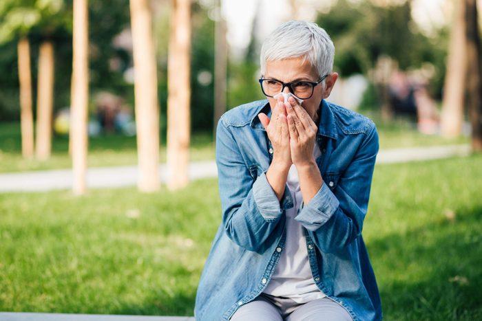 Senior Woman Has Allergy-stress incontinence